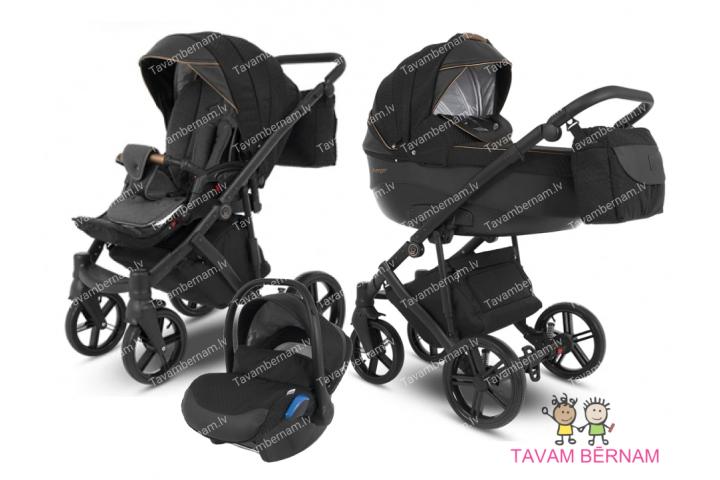 Camarelo Avenger plus 3-1 Av+6 (melna) rati jaundzimušajiem trīs vienā